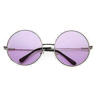 أزياء المرأة المتضخم صبغة لون العدسة المعدن دائرة مستديرة النظارات الشمسية
