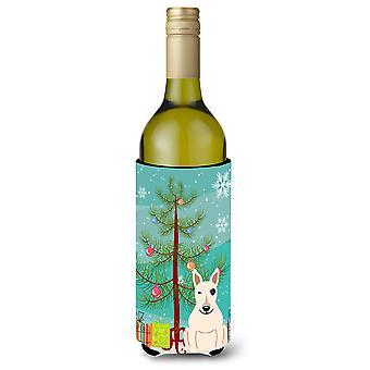 Merry Christmas Tree Bull Terrier White Wine Bottle Beverge Insulator Hugger