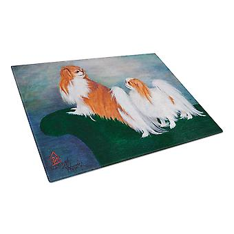 Japanese Chin Standing on my tail Glass Cutting Board Large