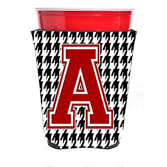 Monogram - Houndstooth  Initial  A Red Solo Cup Beverage Insulator Hugger