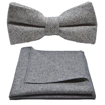 Stonewashed Medium Grey Bow Tie & Pocket Square Set