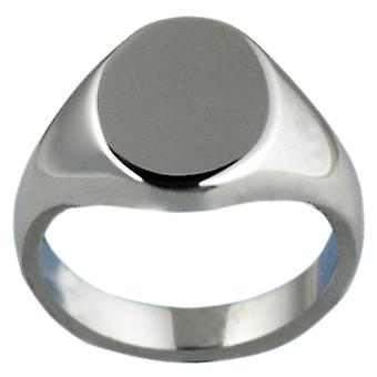 Silver 13x10mm plain solid oval Signet Ring Size W