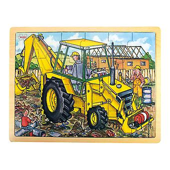 Bigjigs Toys Chunky Wooden Tray Jigsaw Puzzle for Kid's (Digger)
