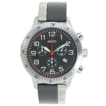 Aristo mens watch chronograph carbon steel trophy clip 7H106R