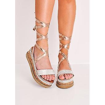 Laço de camurça diamante Flatform alpergata sandálias rosa ouro