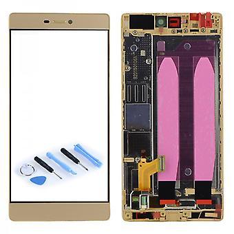 צג LCD יחידת תצוגה מסגרת להשלים יחידה זהב עבור Huawei Ascend P8