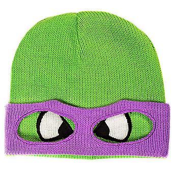 ティーンエイジ ・ ミュータント ・ ニンジャ (タートルズ) ユニセックス ドニー顔のカメ ・ カフなしビーニー 1 つサイズ緑/紫 (KC07QQTMT) をマスク