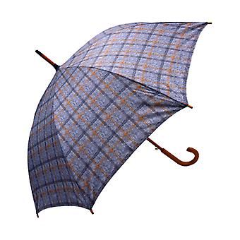 Tweed Check grigio dritto ombrello con stampa
