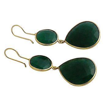 Smaradgohrringe smaragd øredobber gullbelagt øredobber Green