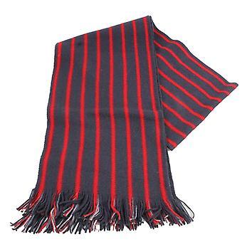 Bassin og brun Edrich stripete reversibel ull skjerf - kull/rød