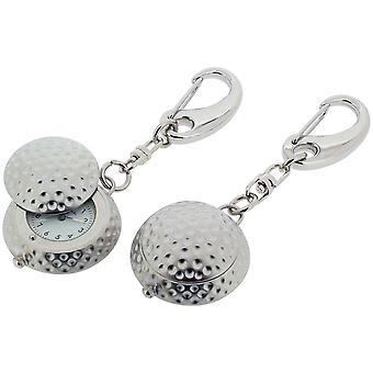 Cadeau tijd producten golfbal met Cover klok Key Ring - Zilver