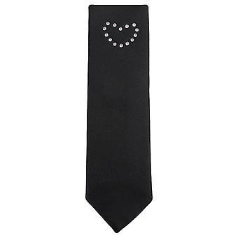 Knightsbridge Neckwear Diamante amour coeur Skinny Tie - noir/argent/rouge