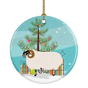 Scottish Blackface Sheep Christmas Ceramic Ornament