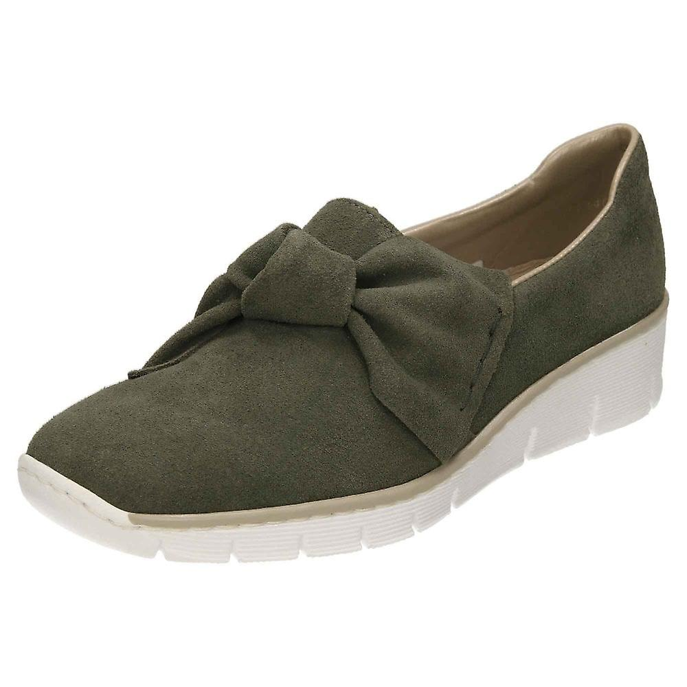 Rieker Suede Leather Loafer Shoes 537Q4-54 Low Wedge bThrU