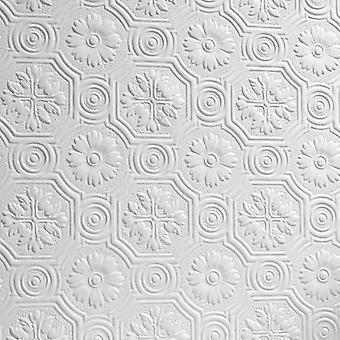 Flor papel tapiz pintable lujo en relieve con textura vinilo Spencer Anaglypta