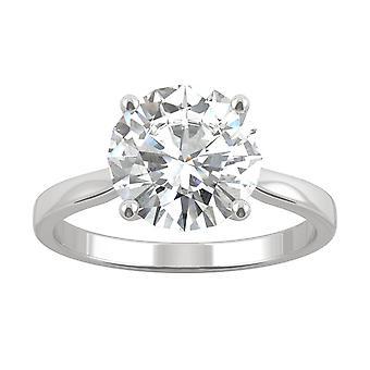 14K White Gold Moissanite by Charles & Colvard 9mm Round Engagement Ring, 2.70ct DEW