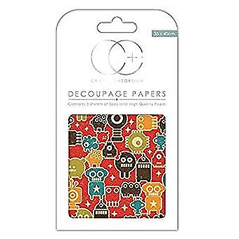 Craft Consortium Little Robots Decoupage Papers (CCDECP154)