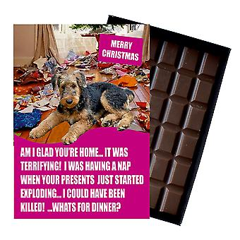 Airedale Terrier Funny Christmas Gift For Dog Lover Boxed Chocolate Greeting Card Xmas Present