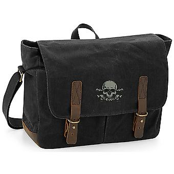 17.21 Lancers-licensierade brittiska armén broderade vaxad canvas Messenger Bag