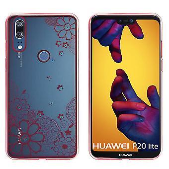 Couverture arrière Clear Bumper look pour Huawei P20 Lite Flower rose Gold