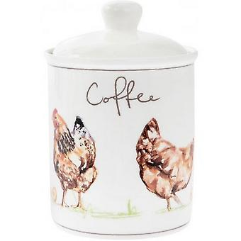 Country Chickens Ceramic Coffee Jar
