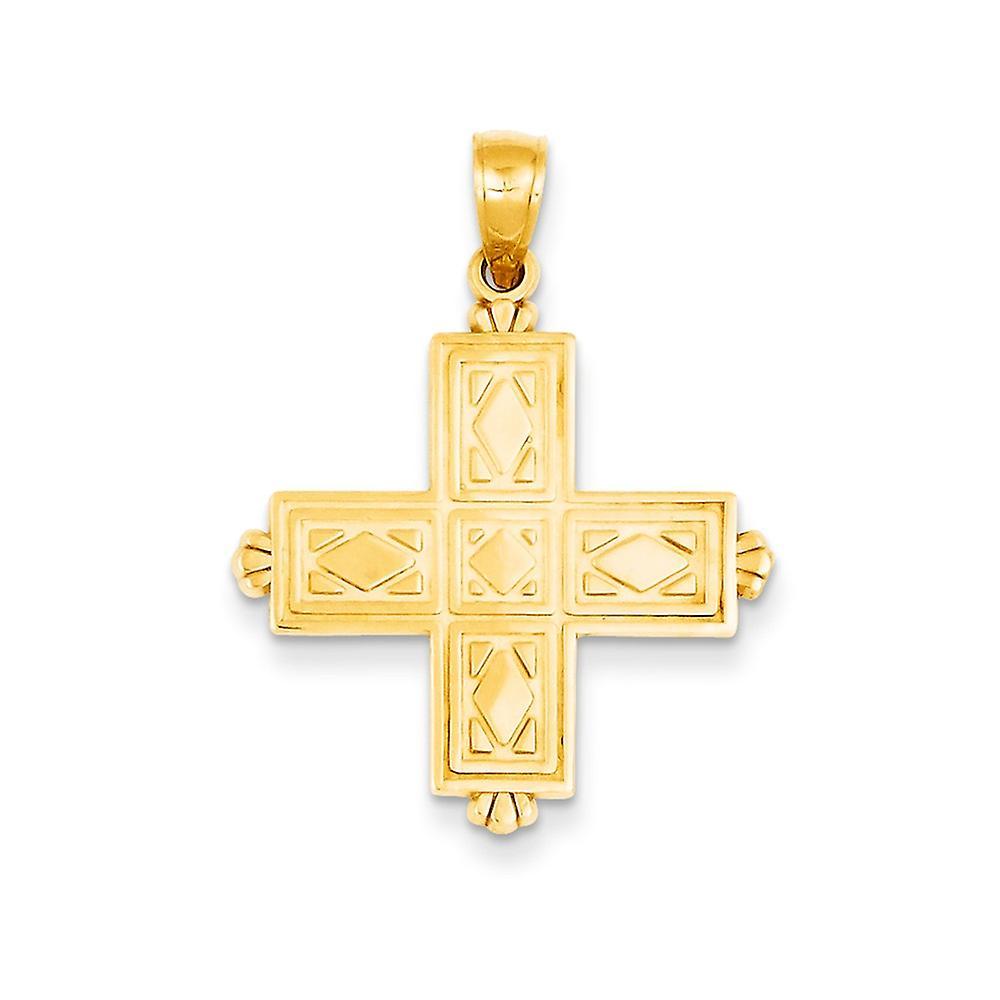 14k Two-tone Gold INRI Crucifix Open back Polished Charm Pendant 26m x16mm