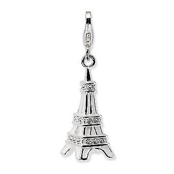 925 plata esterlina Rhodium plateado langosta de lujo cierre 3 D esmalte cristal Eiffel torre con langosta encanto colgante cuello