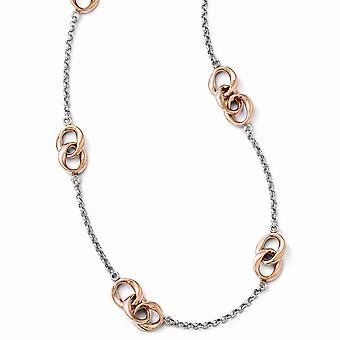 925 Sterling Silver Polished Fancy Lobster Closure and Rose 14k Gold Plated Necklace Jewelry Gifts for Women