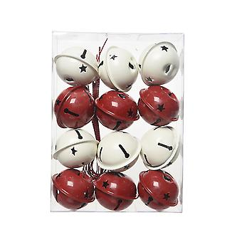 12 Red & White 40mm Jingle Bells for Crafts & Christmas Tree Decorating