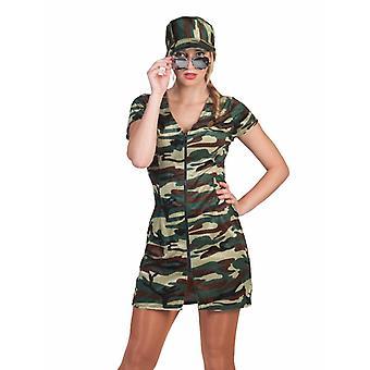 Sexy Soldatin Militär Mädchen Kostüm Damen Tarnfarben Camouflage Karneval Fasching
