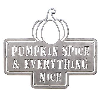 Pumpkin spice and everything nice - metal cut sign 19x16in