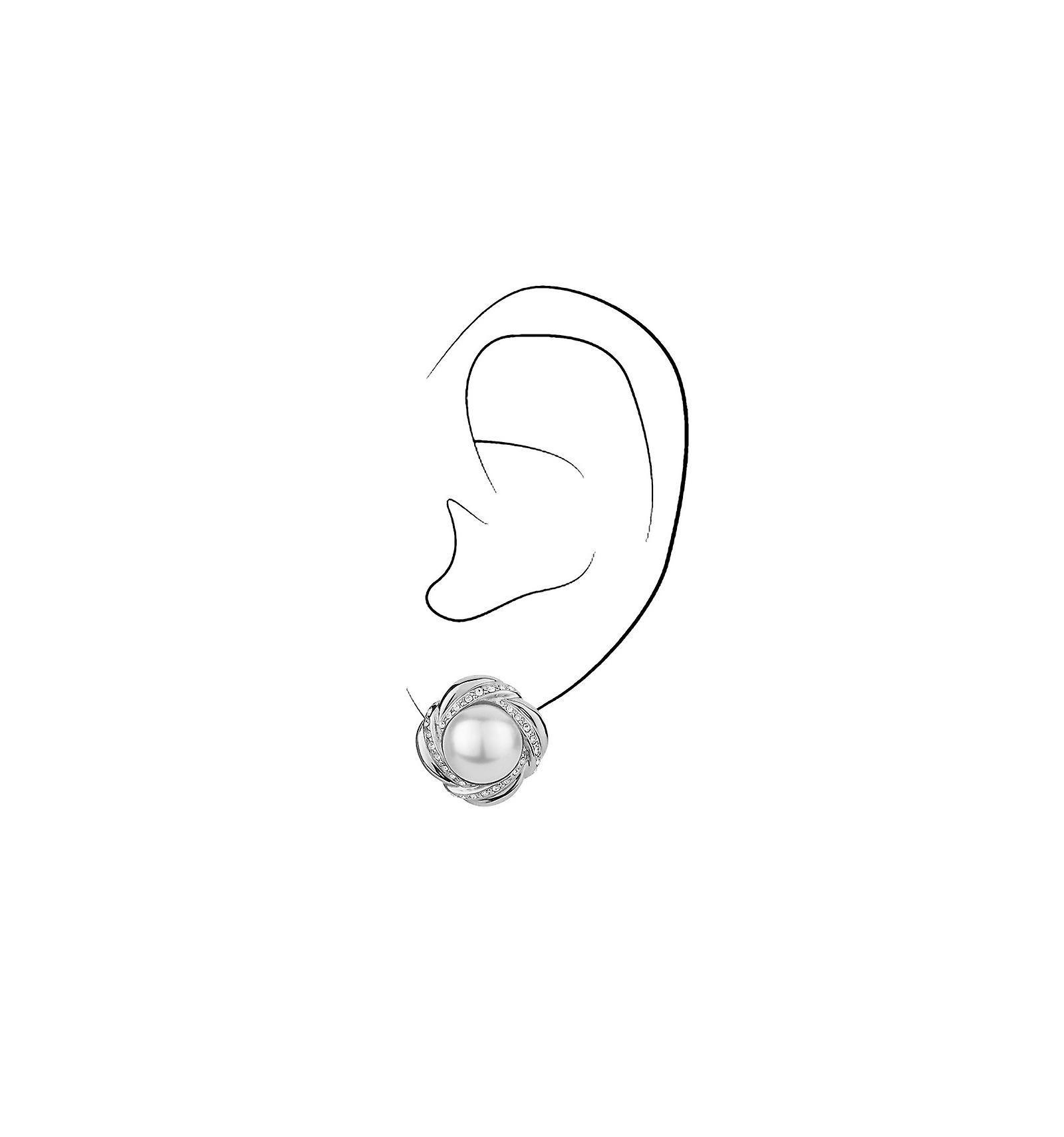 Traveller clip earring - 10mm white pearl - rhodium plated - 114182