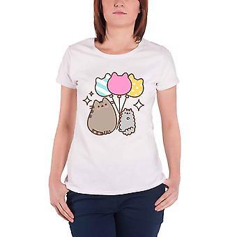 Pusheen T Shirt Balloons Logo new Official Womens Skinny Fit White