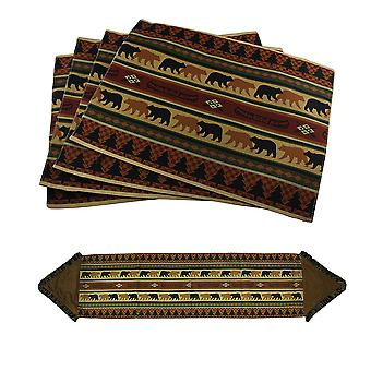 5 stuk bos draagt rustieke Lodge stof Placemat & omzoomd Table Runner Set