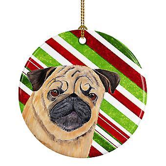 Carolines tesoros SC9331-CO1 Pug Candy Cane vacaciones Navidad cerámica Orname