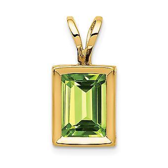 14k Yellow Gold gepolijst Open back 7x5mm Emerald-Cut Peridot Bezel hanger - 1,15 cwt