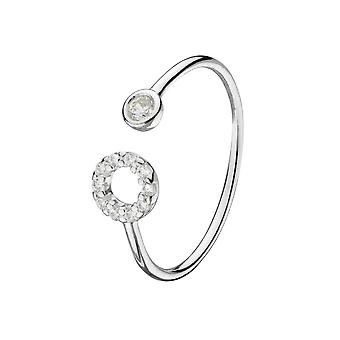 Dew Sterling Adjustable Silver Cubic Zirconia Open Circle Adjustable Ring 1882CZ020