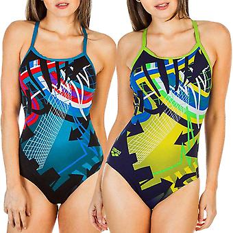 arena Womens Warning One Piece Drop Back Pool Training Swimsuit Costume
