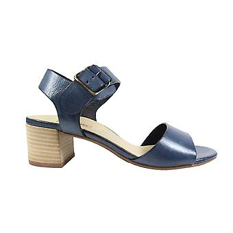 Paul Green 7402-02 Navy Leather Womens Smart Heeled Sandals