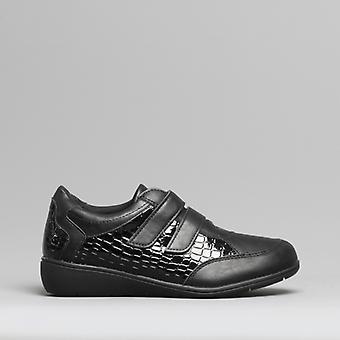 Dr Keller Jess Ladies Touch Fasten Shoes Black