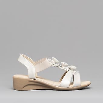 Dr Keller Kiara Ladies Wedge Heel Sandals White
