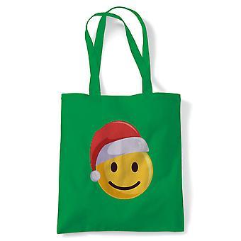 Smiley Christmas Emoji Santa tote | Secret Santa strømpe filler gave til stede ideal | Gjenbrukbare shopping Cotton Canvas Long håndtert Natural shopper miljøvennlig mote