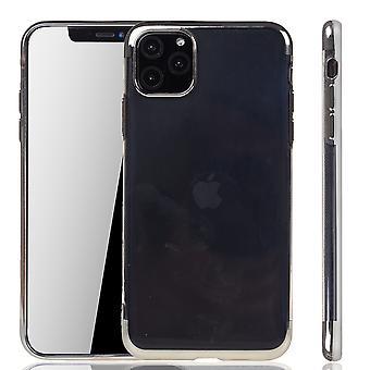 Handyhülle für Apple iPhone 11 Pro Max Silber - Clear - TPU Silikon Case Backcover Schutzhülle in Transparent / glänzender Rand Silber