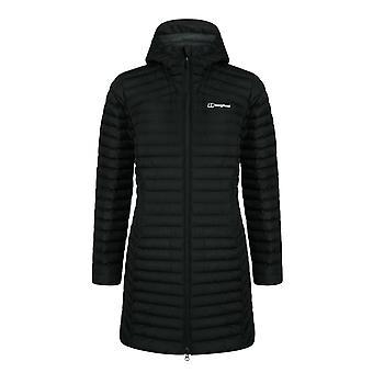 Berghaus nula micro lange Womens gewatteerde Hooded Jacket jas zwart