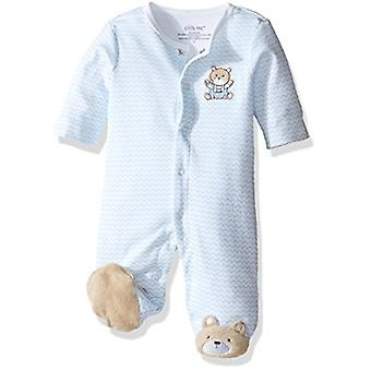 Little Me Baby Boys' Chevron Teddy Bear Footie, Light Blue, 3 Months