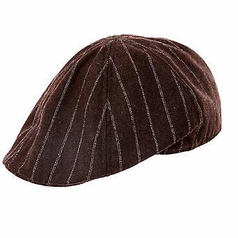 Mens Pinstripe Flat Cap Hat H57 svart Stripe 58cm