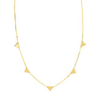 14k Yellow Gold Adjustable Mini Triangulation Necklace 5 Triangle Cable Chain 18 Inch Jewelry Gifts for Women