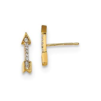 14k Madi K Polished CZ Cubic Zirconia Simulated Diamond Arrow Post Earrings Measures 12x2.8mm Wide Jewelry Gifts for Wom