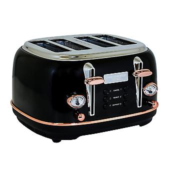 Charles Bentley 4 Slice Toaster Stainless Steel Browning Control Dial with 6 Levels Black and Rose Gold Crumb Tray Annuler Defrost Reheat Paramètres