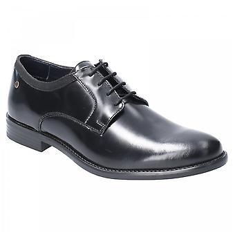 Base London Mens Nero Black Leather Hi Shine Lace Up Shoes